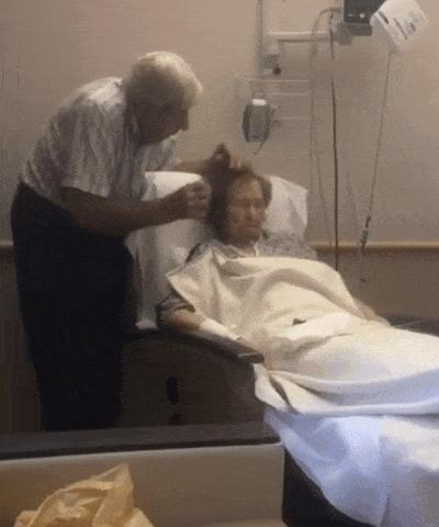 Elderly man gently combs his sick wife's hair 😍 This is Love
