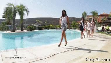Viral! Miss Spain contestant falls into the pool while attempting catwalk twirl
