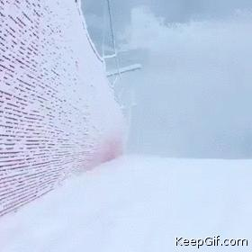 Funny Jump into a snowy fence