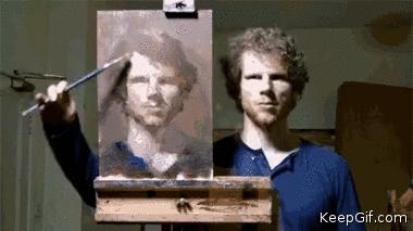 This guy painted himself with mirror!