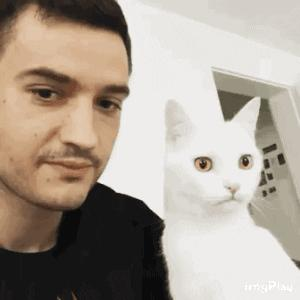 ⁣Cute cat kisses his human