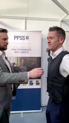 ⁣Stab proof vest demo at the International Security Expo