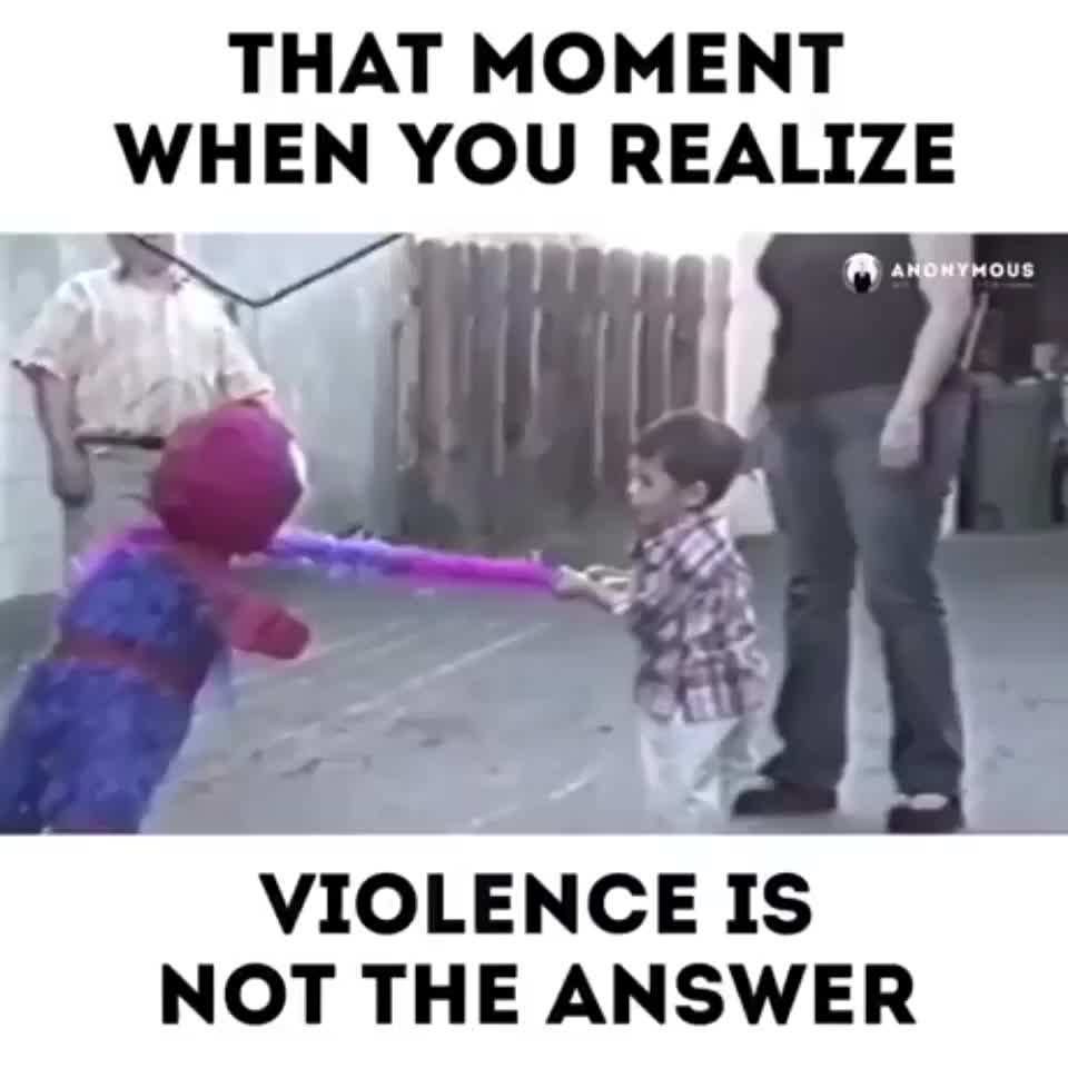 ⁣That moment when you realize violence is not the answer