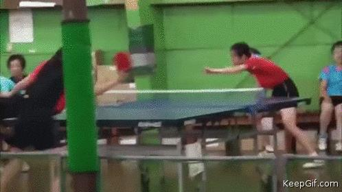 #WTF Girl play table tennis with her face 🏓