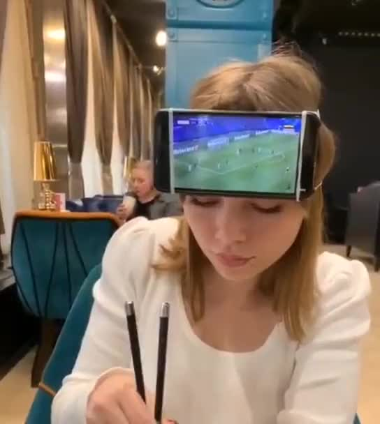 ⁣Watching a football in restaurant with your girlfriend